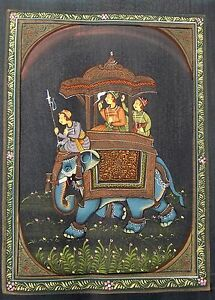 VINTAGE HAND PAINTED WATER COLOR FOLK PAINTING OF ELEPHANT RIDING SCENE ON SILK