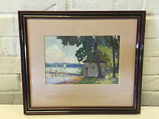 Possibly Vintage Oil Painting Landscape w/ Figures Swimming by Dock