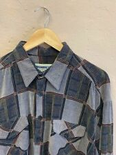 VINTAGE MEN'S CORD SHIRT SIZE XL GREY-BROWN CHECK BAGGY 90s by WILDERNESS (f119)