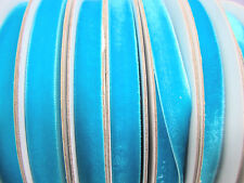 "10 yard 3/8"" Velvet Ribbon 9mm/Satin Back/craft/trim/Supply R116-Turquoise Blue"