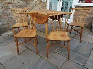Rare Vintage 1960s Ercol 4 Candlestick Chiltern Dining Chairs And Ercol Table