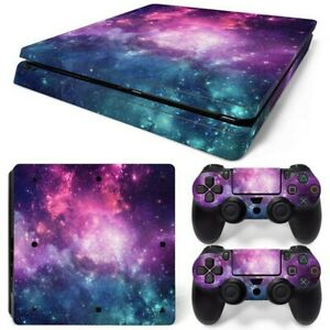 For PS4 Slim Console & 2 Controllers Galaxy Space Vinyl Skin Wrap Decal