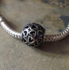 Edelstahl Bead Element Kugel Herzen Antiksilber Silber für Armband 1440