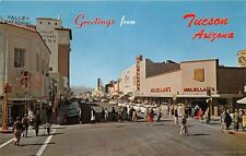TUCSON AZ 1954 Looking West on Congress Street Old Cars Stores People VINTAGE