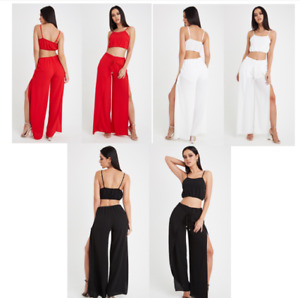 WomenS 2 Piece Set Evening Party Dress Bodycon  Crop Top  And Trouser Side Slit