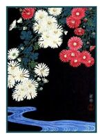 Stream Chrysanthemum Flowers by Asian Ohara Shoson Counted Cross Stitch Pattern