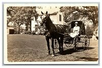 Horse and Buggy Women Lady Driver Home RPPC Real Photo Postcard Unposted 1904-18