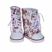 18 inch Doll Printed Hightops Sneakers White Fits For  American Girl Dolls