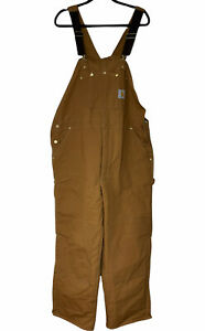 Vintage NOS Carhartt Mens Brown Cotton Duck Bib Overall Double Knees Size 44x30