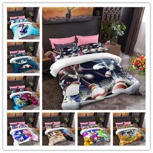Quilt cover Pillowcase Cartoon Bedding set Single Double Children's Gift Sonic