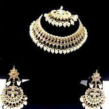 Vergoldet Kundan Halskette Ohrringe Tikka Braut Indisch Choker Modeschmuck