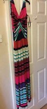 Next Striped Multi Green Black Red White Orange Maxi Long Dress New 12 BNWT