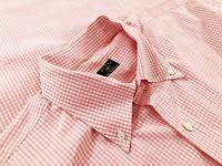 Solemare Maus & Hoffman Mens Short Sleeve Button Down Shirt Pink Gingham Size XL