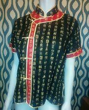 Ethnic Womens Sz XL Cheongsam Linen Vintage Shirts Blouse Tops cl