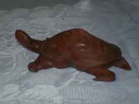 VINTAGE CHINESE HAND CARVED WOODEN TURTLE W/ GLASS EYES FIGURINES