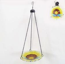 SALE Bird Bath-Feeder Hanging Glass Sunflower and Dragonfly with Chains New