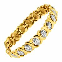 XO Two-Tone Bracelet with Diamond in Sterling Silver-Plated Brass & Gold Flash