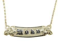 14K Oro Amarillo Personalizadas Hawái 10MM Esmalte Negro Relieve Collar de