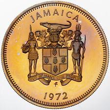 1972 JAMAICA 10 TEN CENTS PROOF CAMEO GEM UNC INTENSE GOLDEN COLOR BU TONED (DR)