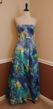 Hailey Logan Adrianna Papell Dress 7/8 Blue Floral Satin Maxi Gown Pockets Prom