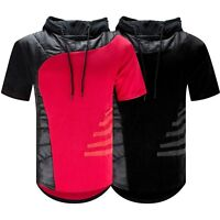 New Men Longline Hoodie Sweater Short Sleeve Longline Black Red Sizes S-2XL