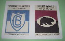 SCANLENS 1968 RUGBY LEAGUE LOGO-CREST CARDS BULLDOGS & BEARS POSTCARD