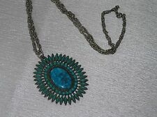Vintage Long Silvertone Chain w Faux Needlepoint Turquoise Oval Pendant Necklace