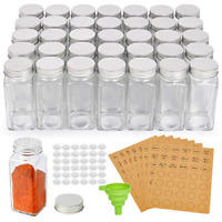 36 Pcs Glass Spice Jars, SXUDA 4oz Empty Square Spice Bottles with Shaker Lids -