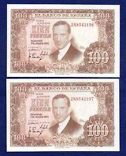 España, 1953 100 pesetas BILLETES, par consecutivos (ref. b0314)
