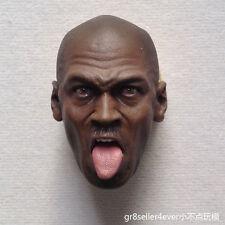 "Hot 1/6 scale Head Sculpt Michael Jordan tongue thrust fit 12"" figure body toys"