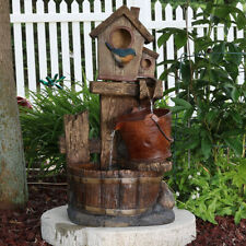"Sunnydaze Bluebird House & Buckets Outdoor Water Fountain 26"" Garden Feature"
