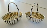 Pair Victorian Novelty Basket Salt Cellars, Birmingham 1892