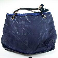 LANVIN XL AMALIA LEATHER BLUE SHOULDER BAG QUILTED GOLD CHAIN HANDBAG HAPPY