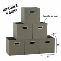 Storage Bin Foldable Fabric Collapsible Cube Container Home Room 6-Set Organizer