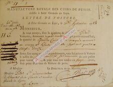1784 Manufacture Royale Cuirs de Russie Saint Germain en Laye Lettre de voiture