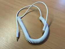 Urbanz BLOCK Headphones Replacement Curly Cable Lead 3.5mm Jack White - New