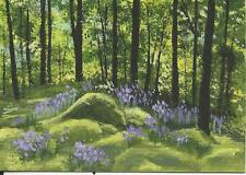 """Aceo original acrylic painting """"Forest Flowers"""" by J. Hutson"""