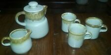 McCoy Pottery Graystone Drip - 3 Cups, Pitcher & Creamer