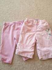 2 X Pink Girls Trousers Age 3 -6 Months (J)
