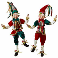 "Set/2 16"" Posable Red Green Plaid Shelf Elf Retro Vntg Christmas Doll Home Decor"
