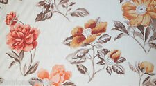 Designers Guild Shangai Rose Fabric Floral Printed Linen Beige Rusty Red Orange