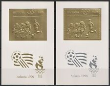 Guyana-1996 Soccer Football Olympics silver gold perf imperf  MNH**