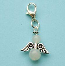 Guardian Angel Clip On Charm White Jade Gemstone Bag Bracelet Zip Phone LB255