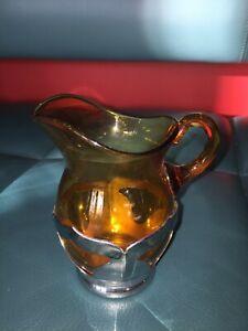 Krome Kraft Farber Bros NY Art Deco Cambridge Glass amber creamer 1930's 87496