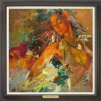 """Hand-painted Oil painting art Original Impressionism girl on Canvas 30""""x30"""""""