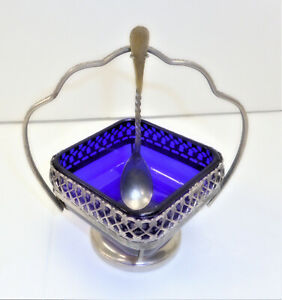 Antique Made In England Blue Glass/Extra {Coin Silver} Plate Salt cellar W/Spoon