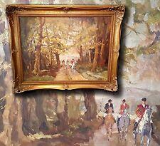 Reiter im Herbstwald. Schönes signiertes Ölgemälde, Pferdebild, Pferdegemälde