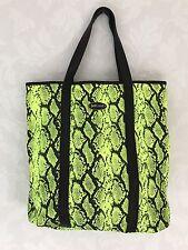 Just Cavalli Roberto Cavalli Lime Green snakeskin Print Tote Handbag/Size: Large