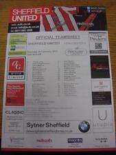 16/02/2013 Colour Teamsheet: Sheffield United v Colchester United  . Item in ver