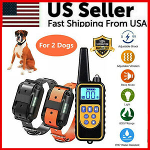 2600 FT Remote Dog Shock Training 2 Collar Set Rechargeable Waterproof LCD Pet